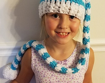Crochet stocking cap with long tail pattern
