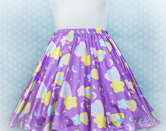 Starfall Printed Skater Skirt (Shooting Stars, Moons, and Sparkles)  Fairy Kei Pastel Goth Kawaii