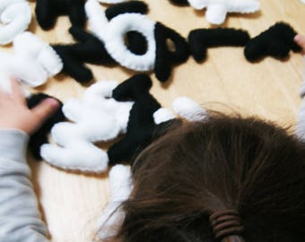 Pack of 26 black and white Plush Alphabet Letters, Toddler Learning, Learn ABC, Plush Letters, Pre School activities, Nursery Play, Dyslexia
