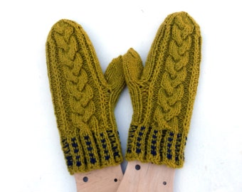 Hand knitted wool mittens, khaky mitts ,knit cabled aran mittens, hand knit hand warmers, winter gloves for adult, handmade , knitwear