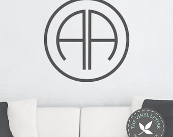 Circle Modern Double Monogram Vinyl Wall Decal Sticker | Family Name