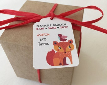 25 Fox Plantable seed paper favors - woodland boxed personalized favors - assemby required - kids party