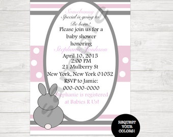 Pink and Grey Baby Shower Invite With Bunny