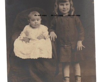toddler girl and baby, high button shoes, RPP, real photo postcard