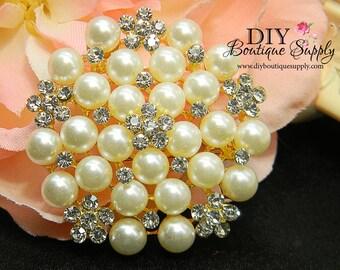 Gold Brooch Pearl Brooch Rhinestone Brooch Bouquet DIY Weddings Bridal Wedding Accessories Pin Back 52mm 215191