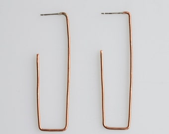 Copper Square Hoops