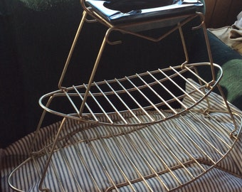 VINTAGE MAGAZINE RACK,  glass ashtray, metal wire, mid  century decor, tray stand, side table