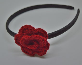 Crochet Rosette Headband - Red on Black - Toddler to Adult Headband