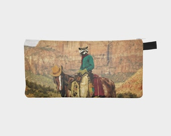 Zipper Pouch Pencil Case College Kids School Supplies Teens Organize Raccoon Art Animal Cowboy Western Horse Wild West - Old Rocky Bill