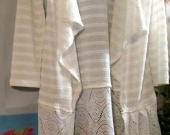 Handmade upcycled fabric white cardigan