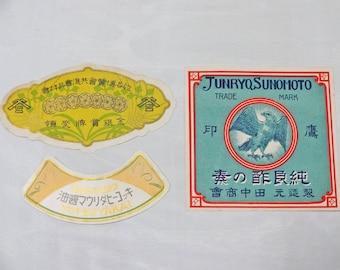 3pc 20 - 40s Japanese vintage labels