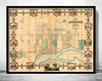Old map of Davenport Iowa 1857