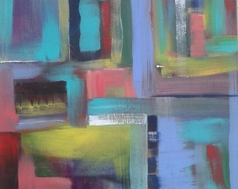 Red Pink Turquoise Lime Green Abstract Acrylic Painting 12x12 Expressionism