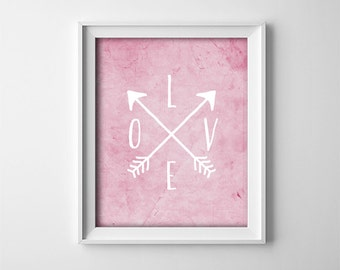 "INSTANT DOWNLOAD 8X10"" printable digital art file - LOVE - Crossed arrows - Minimalist - Playroom - nursery - child - Pink"