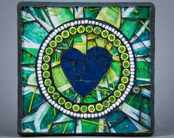 Signature Heart Mosaic - Lime Bromeliad