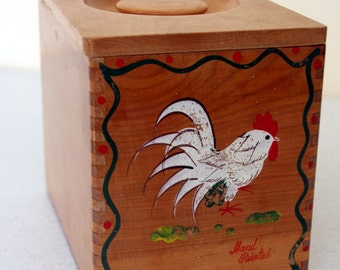 Woodpecker Woodware cannister-fighting rooster-painted wood kitchen box with cover-made in Japan-hand painted