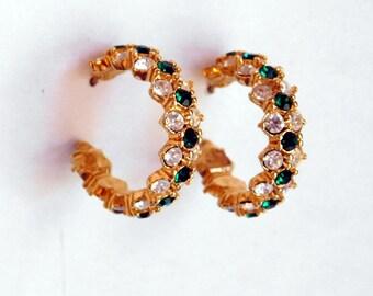 Vintage Signed Daniel Swarovski Green-and-White Rhinestone Hoop Earrings - Goldtone Metal - Encrusted with Brilliant Crystal - Post, Pierced