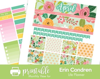Printable Planner Stickers April Monthly View Kit! Spring Flowers Theme!  w/ Cut Files! For use with Erin Condren LifePlanner