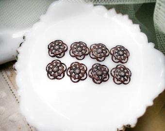 Rustic Oxidized Bead Caps - 8 Dark Patina Silver Tone Scalloped Disc Caps - 12mm - Age Worn Dark Primitive Ajoure Filigree - haunter