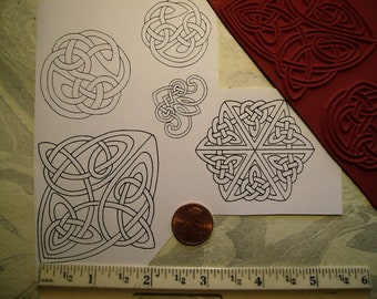 5 celtic knots rope  rubber stamp un-mounted or wood mounted scrapbooking rubber stamping