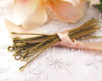 Antique Brass Ox Eye Pins 2 Inches 21 Gauge US Made Jewelry Findings – Set of 50