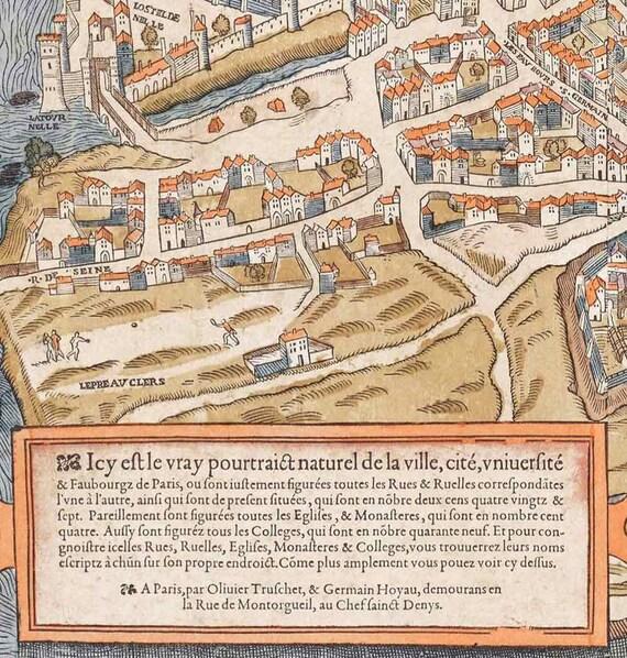 "Old map of Paris (1550) Paris map in 5 sizes up to 43""x60"" (109x152cm) Restoration decor Style Vintage map of Paris, France, Home Decor"