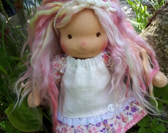 Lucille - Sitting style Waldorf Inspired Doll , 8 inch
