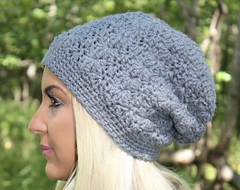 Grey Slouchy Beanie, Crochet Slouchy Hat, Crochet Hat, Crochet Beanie, Womens Hat, Grey Winter Hat, Hipster Beanie, Grey Beanie,THE SIERRA