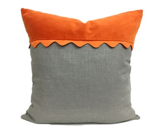 Orange and Gray Pillow Cover with Ric Rac