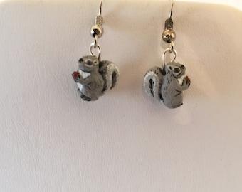 Ceramic Squirrel Pierced  Earrings