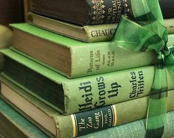Green Vintage Books | Green Books | Decorative Green Books | Vintage Books | Green Book Stack | Books Stack | Custom Sourced Green Books