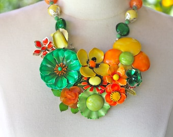 Statement Necklace, Vintage Enamel Flower, Brooch, Green, Orange,Yellow, Collage, Flower Power, Jennifer Jones, OOAK - Citrus Blossoms