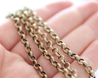 4.5mm brass rolo chain, gold rolo chain, brass chain, antique gold brass chain, rolo chain, antique gold rolo chain, necklace chain