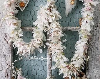 Garland, Banner, Fabric Garland, Tattered Banner, Shabby Chic Garland, Rustic Wedding, Woodland Nursery, Holiday Banner, Farmhouse Decor