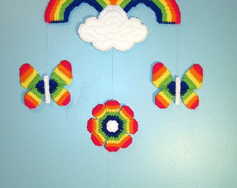 Brand New Handmade Rainbow Mobile / Completed Plastic Canvas Mobile Ready to Hang