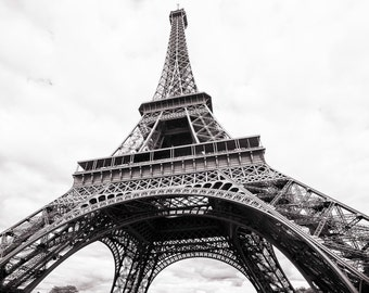 Paris Photography - The Eiffel Tower from Below, Fine Art Travel Photograph, Black and White, Large Wall Art, Paris Icon Home Decor