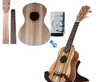 Make Your Own Four Strings 23 Zebrano Concert Ukulele DIY Hawaii Ukulele Kit
