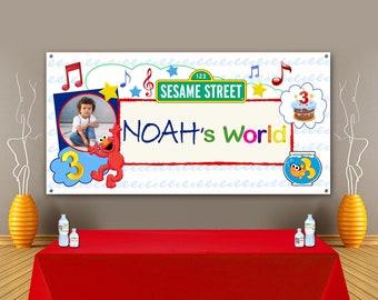 Elmo Birthday Backdrop, Elmo's World, Sesame Street Personalized Banner, Photo Props, Girl Birthday, Boy Birthday, Birthday Banner. Elmo