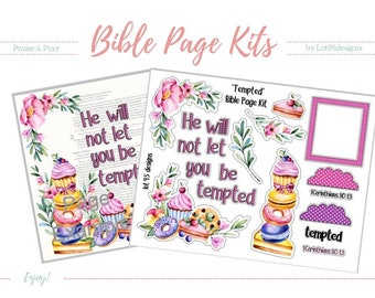 """Printable Bible Journaling Page Kit - """"Tempted"""" - Complete kit for Bible Pages or Journals. Fits all Journaling Bibles."""