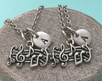 Best friend necklace, music notes necklace, music necklace, bff necklace, sister, friendship jewelry, personalized, initial, monogram