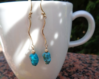 Earrings gold and turquoise, 585 gold filled curved look, wonderful summer!