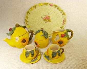 10 Pc. Vintage Miniature Ceramic Tea Set
