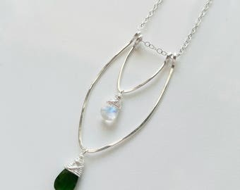 Rainbow Moonstone Necklace, Chrome Diopside Necklace, Unique Sterling Silver Necklace, Moonstone Pendant, Green Chrome Diopside Gemstone