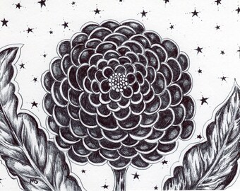 "Divine Flower Drawing, Pen and Ink,  HAND DRAWN 5x7"" Flower Wall Art, Cosmic, Stars, Starry Night  ""Awaken"""