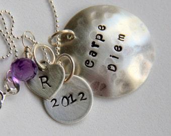 Carpe Diem Necklace - Carpe Diem Quote Necklace - Seize The Day Gift - Latin - Graduation - Carpe Diem Inspirational Gift