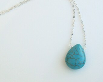 Turquoise Pear-Shaped Briolette Pendant with Sterling Silver Necklace - 16 inches