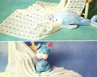 Vintage Baby's Shawl, Knitting/Crochet Pattern, 1960 (PDF) Pattern, Patons 9930