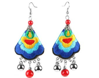 Embroidery Dangle Drop Earrings Colorful Ethnic Inspired