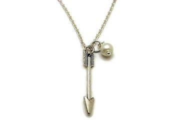 Silver Arrow Necklace Archery Necklace Glass Pearl Birthstone Necklace Arrow Jewelry Archery Jewelry