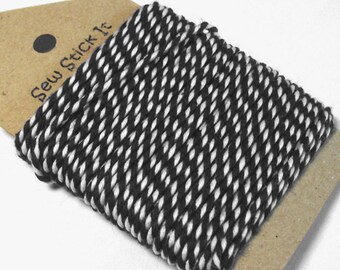 Black and white bakers twine. Monochrome packaging. 10 metres